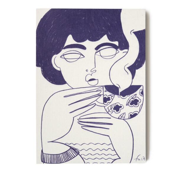Postkarte Tee Party von Franziska Uhlig