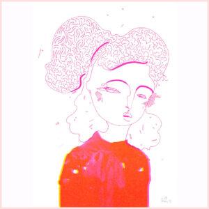 Zweifarbige Risografie SHADOW PINK von Franziska Uhlig