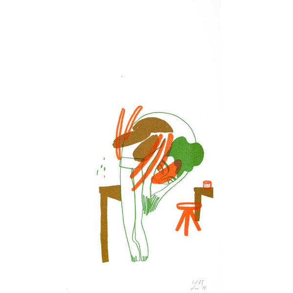Dreifarbige Risografie VILLAIN von Franziska Uhlig
