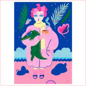 FineArt Print Paris & Krokodil von Franziska Uhlig