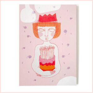 Postkarte Geburtstag mit Krone von Franziska Uhlig