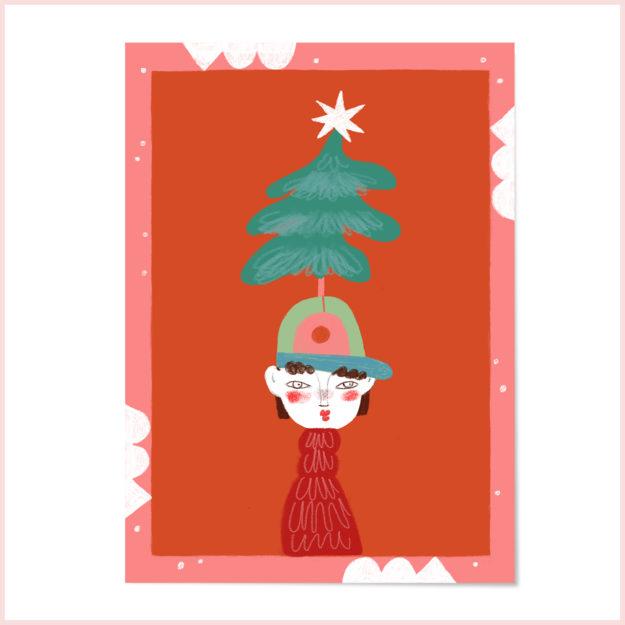 """Postkarte """"Weihnachten und Tannennadeln"""""""